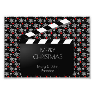 Funny Clapperboard Filmmaking Black White Red Photo Print