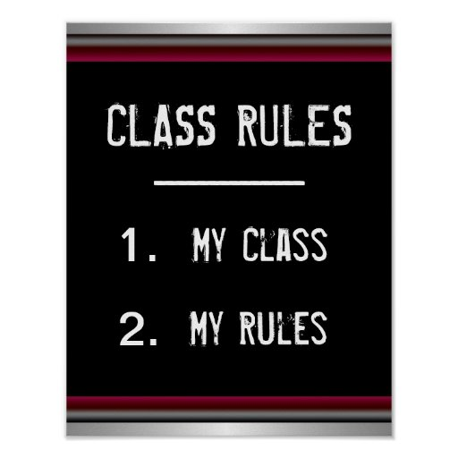 Funny Class Rules Poster