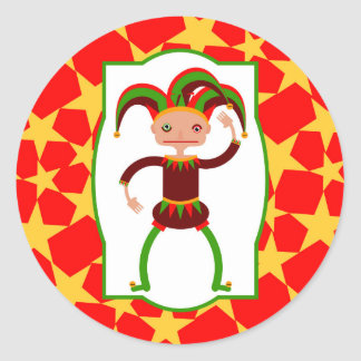 Funny clown from Middle Age Classic Round Sticker