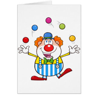 Funny Clown Juggling Note Cards