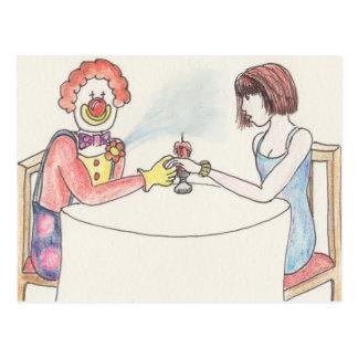 Funny clown love and romance novelty art card postcard