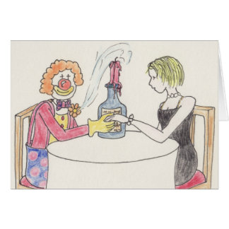 Funny clown love & romance novelty art card greeting card