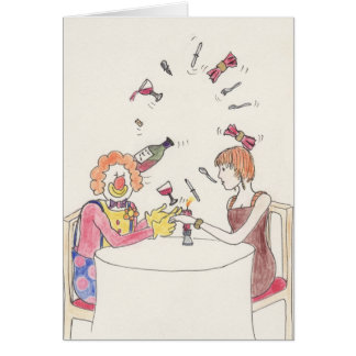 Funny Clown love & romance novelty art card
