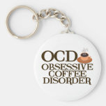 Funny Coffee Addict Basic Round Button Key Ring