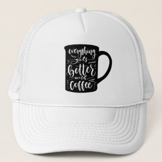 Funny Coffee Addict Java, Latte Caffeine Quote Trucker Hat
