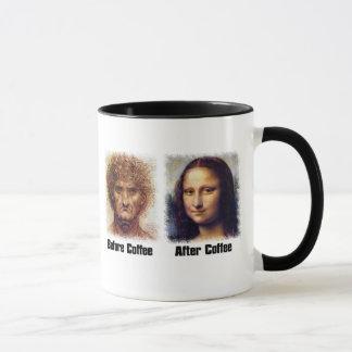 Funny Coffee Before and After - Da Vinci Mona Lisa Mug