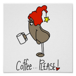 Funny Coffee Lover Stick Figure Poster