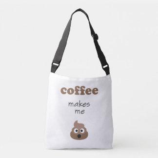 Funny coffee makes me poop emoji phrase crossbody bag