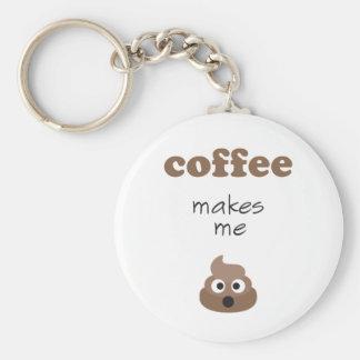 Funny coffee makes me poop emoji phrase key ring