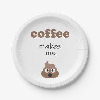 Funny coffee makes me poop emoji phrase paper plate