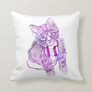 Funny Colorful Cat in Headphones illustration Cushion