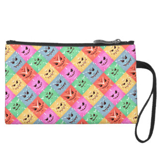 Funny Colorful Cheeky Faces Pattern Suede Wristlet