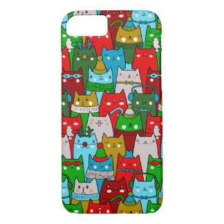 Funny Colorful Cute Christmas Cats iPhone 7 Case