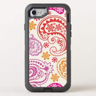 Funny colorful floral Paisley Pattern OtterBox Defender iPhone 8/7 Case