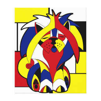 Funny Colorful Geometric Stained Glass Dog Canvas Print