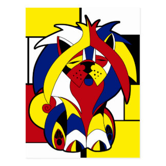 Funny Colorful Geometric Stained Glass Dog Postcard