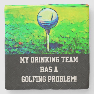 Funny Colorful Men's Golfing Stone Coaster