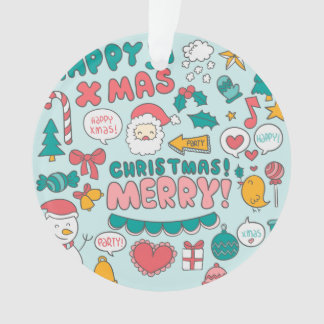 Funny colorful Merry Christmas pattern