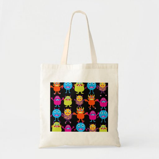 Funny Colorful Monster Party Creatures Characters Canvas Bags