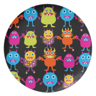 Funny Colorful Monster Party Creatures Characters Plate