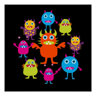 Funny Colorful Monsters Creatures Kids Poster