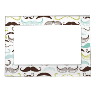 Funny Colorful Pattern for Mustache Lovers Magnetic Picture Frame
