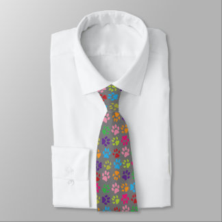 Funny Colorful pet dog or cat paw prints on gray Tie