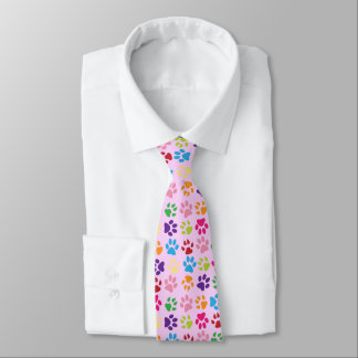 Funny Colorful pet dog or cat paw prints on pink Tie