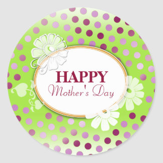 Funny Colorful Polka Dots for Mother's Day Classic Round Sticker