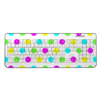 Funny Colorful Polka Dots Kids Wireless Keyboard