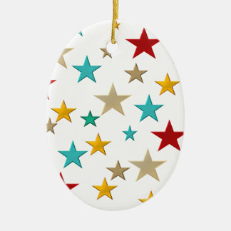 Funny, colorful stars ceramic ornament