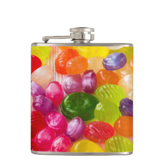 Funny Colorful Sweet Candies Food Lollipop Photo Hip Flask