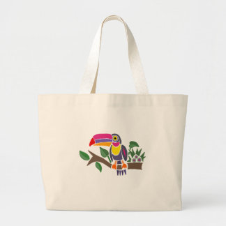 Funny Colorful Toucan Bird Abstract Art Large Tote Bag