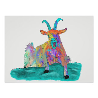 Funny Colourful Orange Screaming Goat Art Design Poster