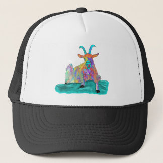 Funny Colourful Orange Screaming Goat Art Design Trucker Hat