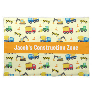 Funny Construction Vehicles Pattern for Boys Place Mat
