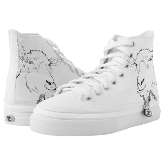 Funny Content Goat Drawing Animal Art Design High Tops