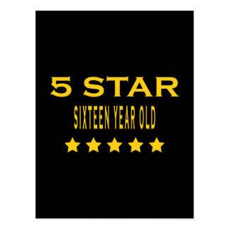 Funny Cool 16th Birthdays : Five Star Sixteen Postcard
