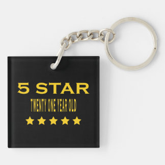 Funny Cool 21st Birthdays : Five Star Twenty One Double-Sided Square Acrylic Key Ring