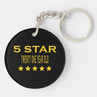 Funny Cool 21st Birthdays : Five Star Twenty One Double-Sided Round Acrylic Keychain