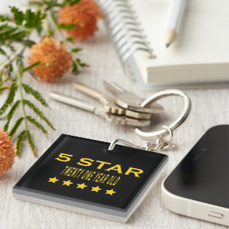 Funny Cool 21st Birthdays : Five Star Twenty One Single-Sided Square Acrylic Key Ring
