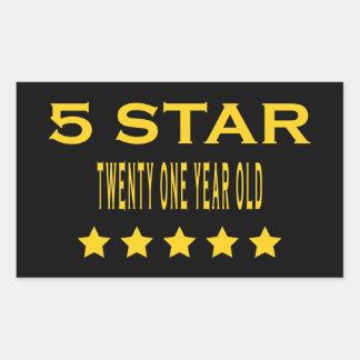 Funny Cool 21st Birthdays Five Star Twenty One Rectangular Sticker