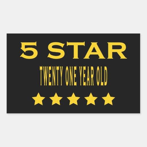 Funny Cool 21st Birthdays : Five Star Twenty One Rectangular Sticker