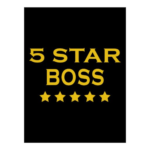 Funny Cool Bosses : Five Star Boss Print