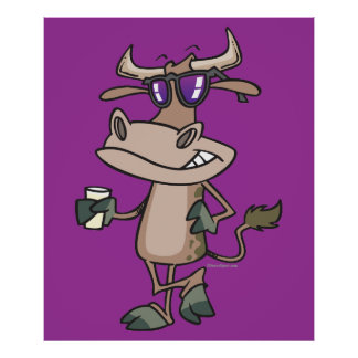 funny cool cow wearing shades cartoon character poster
