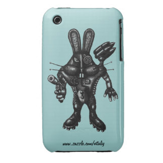 Funny cool cyborg bunny pen ink drawing art iPhone 3 Case-Mate cases