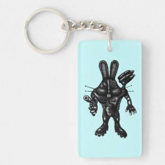 Funny cool cyborg bunny pen ink drawing art key ring