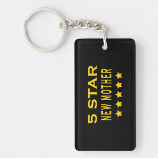 Funny Cool Gifts : Five Star New Mother Single-Sided Rectangular Acrylic Key Ring
