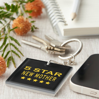Funny Cool Gifts : Five Star New Mother Single-Sided Square Acrylic Key Ring