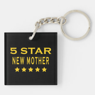 Funny Cool Gifts : Five Star New Mother Double-Sided Square Acrylic Key Ring